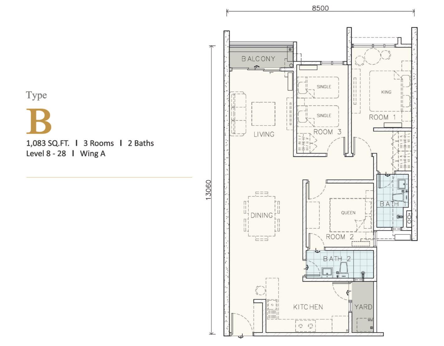 Type B (1083 sq.ft)